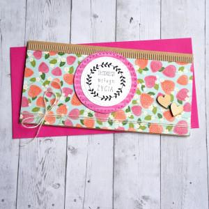 kartka kopertówka - poziomki - słodkiego miłego...
