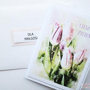 Kartka MOTYWACYJNA - różowe tulipany