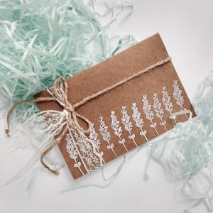 Kartka na prezent Eco Lawenda biała
