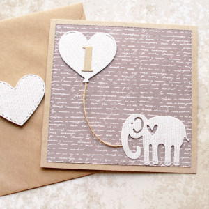 kartka na roczek - słonik - beż