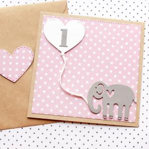 kartka na roczek - słonik - dla dziewczynki
