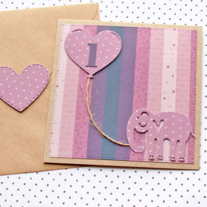 kartka na roczek - słonik - fiolet