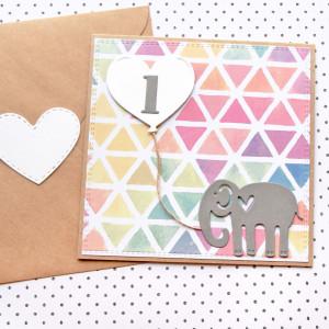 kartka na roczek - słonik - multicolor