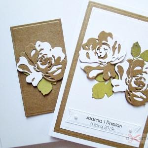 Kartka NA ŚLUB biało-brązowa z różami