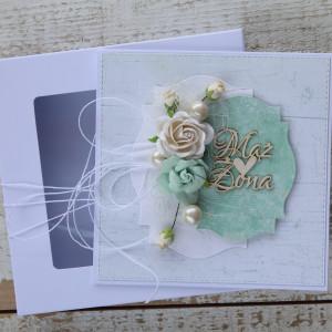 Kartka na ślub handmade z kwiatami 1