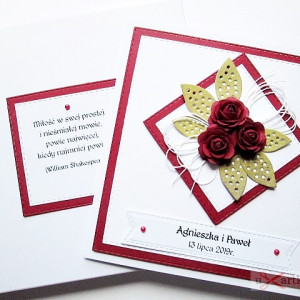 Kartka NA ŚLUB z bordowymi różami
