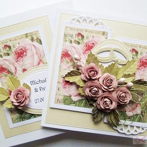 Kartka na ślub z pastelowymi różami