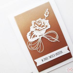 Kartka NA URODZINY - miedziana róża