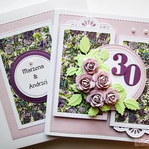 Kartka Rocznica Ślubu jasnofioletowe róże