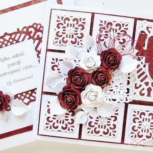 Kartka Rocznica Ślubu rubinowo-biała