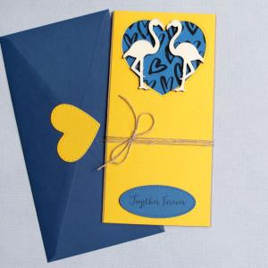 kartka ślubna - flamingi - slim 2