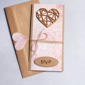 kartka ślubna - geometric heart - nude