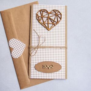 kartka ślubna - geometric heart - pepitka