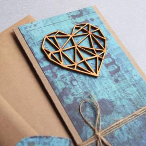 kartka ślubna : geometric heart : turquoise