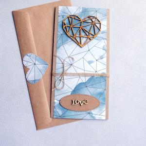 kartka ślubna - geometric heart - watercolors