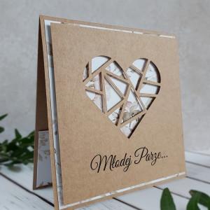 Kartka ślubna - Geometryczne serce III