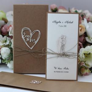 kartka ślubna i pudełko mini koperta torebka