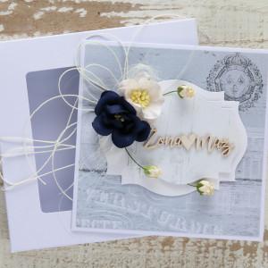 Kartka ślubna kwiatowa 3