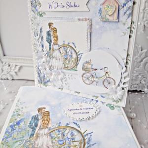 kartka ślubna lawenda