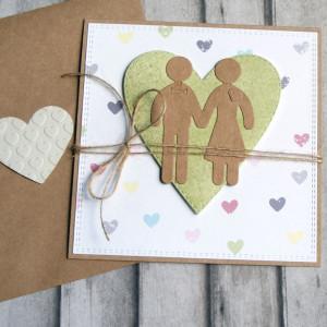 kartka ślubna - ludziki - pastelowe serca