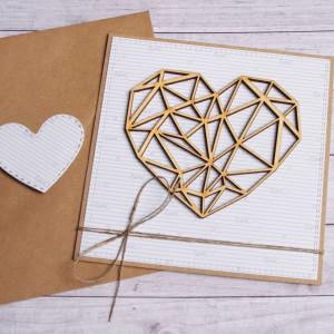 kartka ślubna, miłosna - geometryczne serce biel