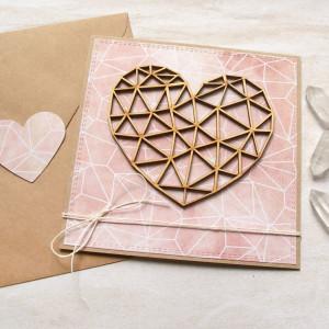 kartka ślubna, miłosna - geometryczne serce - nude