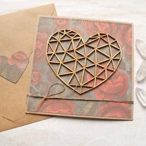 kartka ślubna, miłosna - geometryczne serce - róże