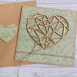 Kartka ślubna, miłosna - geometryczne serce zieleń