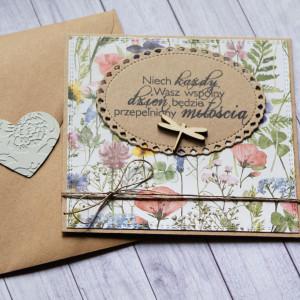 kartka ślubna : na łące