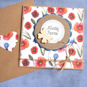 kartka ślubna - polne kwiaty - maki i chabry