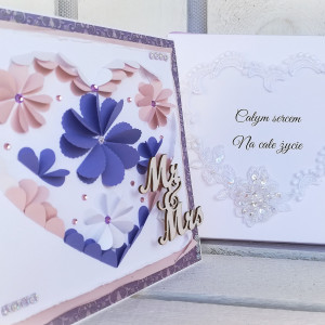 kartka ślubna SERCE