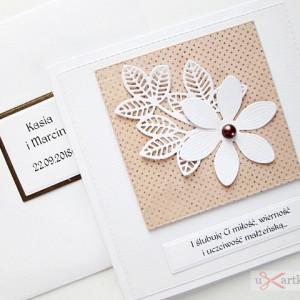 Kartka ŚLUBNA z białym kwiatem