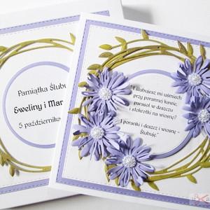 Kartka ŚLUBNA z fioletowymi stokrotkami