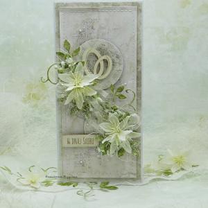 Kartka ślubna z obrączkami  w pudełku