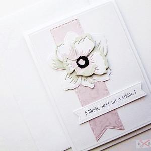Kartka ŚLUBNA z peonią - różowa