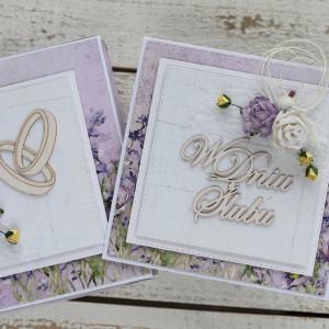 Kartka ślubna z pudełkiem kwiaty 1151