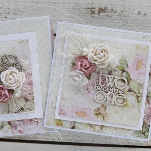 Kartka ślubna z pudełkiem kwiaty 1153