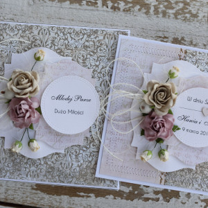 Kartka ślubna z pudełkiem kwiaty 11j