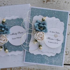 Kartka ślubna z pudełkiem kwiaty 11q