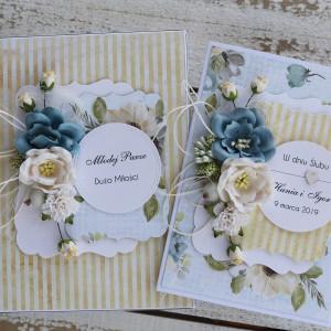 Kartka ślubna z pudełkiem kwiaty 11s