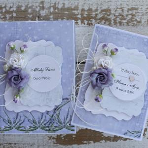 Kartka ślubna z pudełkiem kwiaty fiolet 2