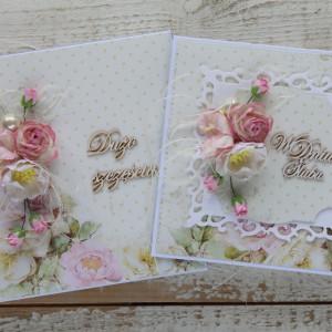 Kartka ślubna z pudełkiem kwiaty róż 8