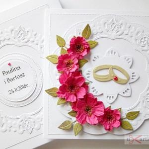 Kartka ŚLUBNA z różowymi kwiatami #1