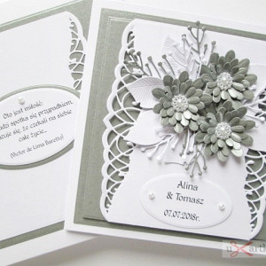 Kartka Ślubna z szarymi kwiatami