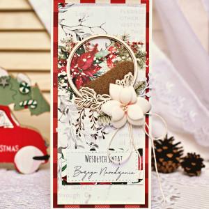 Kartka świąteczna - poinsecja z shakerem