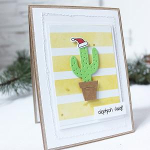 Kartka świąteczna z kaktusem