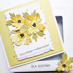 Kartka Uniwersalna z żółtymi kwiatami