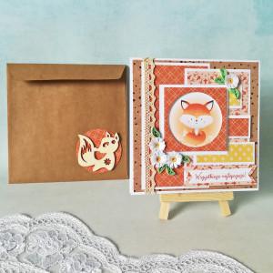kartka urodzinowa lisek