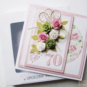 Kartka URODZINOWA - pastelowe róże