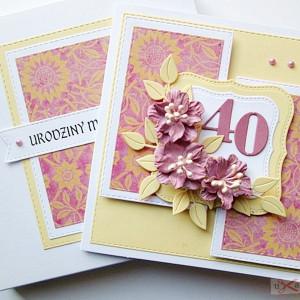 Kartka Urodzinowa - różowe kwiaty